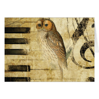 Vintage Parchment ~ Owl on Piano Card