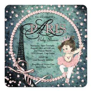 Vintage Paris Baby Shower 13 Cm X 13 Cm Square Invitation Card