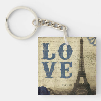 Vintage Paris | Blue Double-Sided Square Acrylic Key Ring