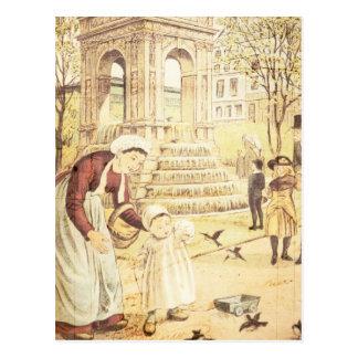 Vintage Paris Cute Kid Mother Sparrows Birds Post Card
