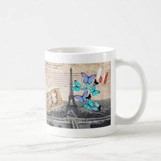 vintage  Paris Effiel Tower Butterfly  fashion Basic White Mug