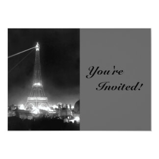 Vintage Paris Eiffel Tower 13 Cm X 18 Cm Invitation Card