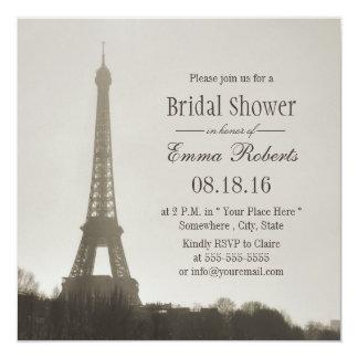 Vintage Paris Eiffel Tower Bridal Shower 13 Cm X 13 Cm Square Invitation Card