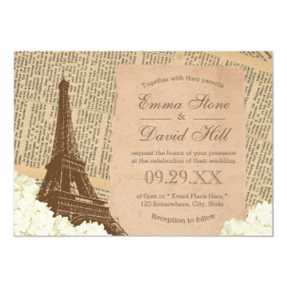 Vintage Paris Eiffel Tower Elegant Floral Wedding 13 Cm X 18 Cm Invitation Card