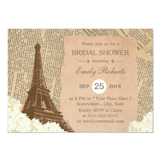 Vintage Paris Eiffel Tower Floral Bridal Shower 13 Cm X 18 Cm Invitation Card