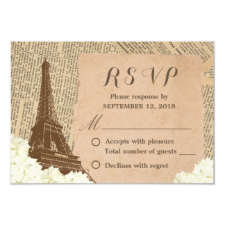Vintage Paris Eiffel Tower Floral Wedding RSVP 9 Cm X 13 Cm Invitation Card