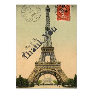Vintage Paris Eiffel Tower Personalized Thank You 11 Cm X 16 Cm Invitation Card