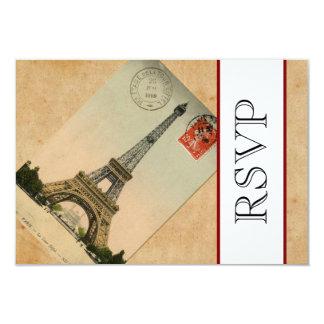 Vintage Paris Eiffel Tower RSVP 9 Cm X 13 Cm Invitation Card