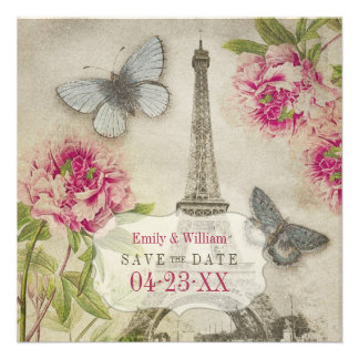 Vintage Paris Peonies Wedding Save the Date Personalized Invites