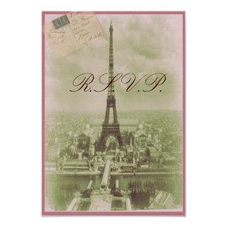 Vintage Paris Wedding 9 Cm X 13 Cm Invitation Card
