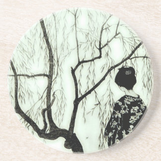 Vintage Pastel Tree Branch Japanese Woman Coaster