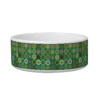 Vintage patchwork with floral mandala elements cat bowls
