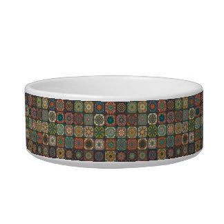 Vintage patchwork with floral mandala elements cat food bowl