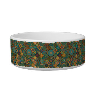 Vintage patchwork with floral mandala elements cat food bowls