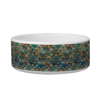 Vintage patchwork with floral mandala elements pet bowl