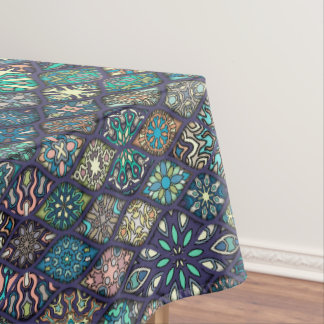 Vintage patchwork with floral mandala elements tablecloth
