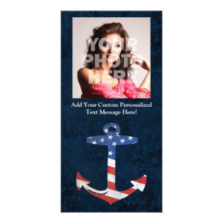 Vintage Patriotic American Flag Anchor Nautical US Personalized Photo Card