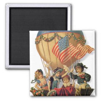 Vintage Patriotic, Children in a Hot Air Balloon Magnet