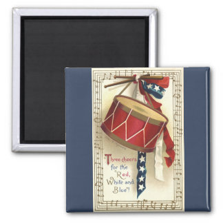 Vintage Patriotic, Drums with Musical Notes Magnet