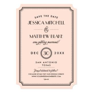 Vintage Peach Art Deco Monogram Save the Date Card