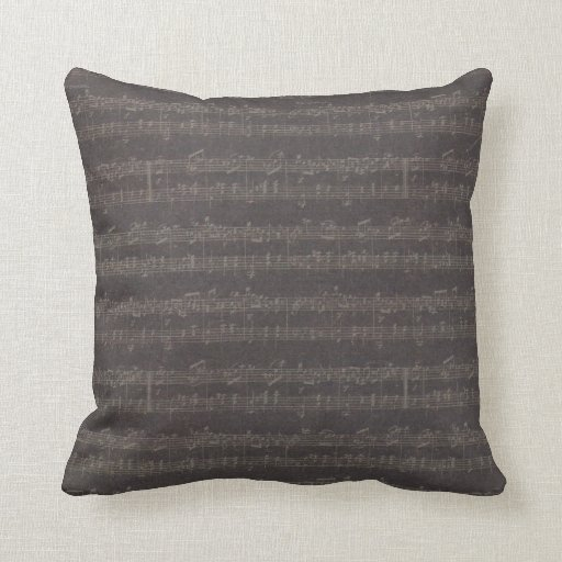 Vintage Peach Black Music Coordinating Fabric Throw Pillow