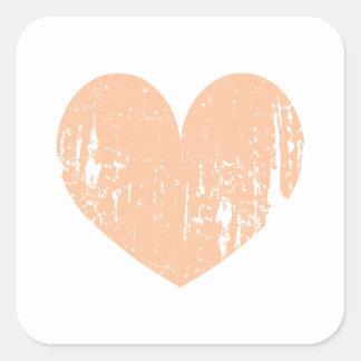 Vintage peach color wedding heart square sticker