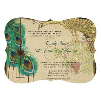 Vintage Peacock Bird Cage Feather Wedding Invite