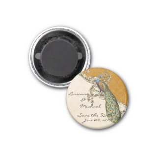 Vintage Peacock & Etchings Save the Date 3 Cm Round Magnet