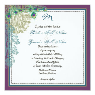 Vintage Peacock, Feathers n Etchings - Invitation