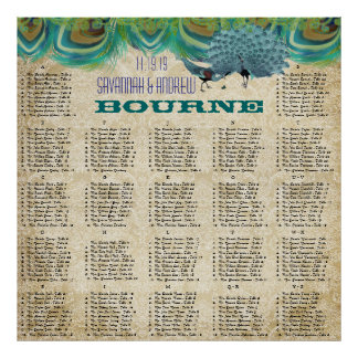 Vintage Peacock Feathers Wedding Seating Chart