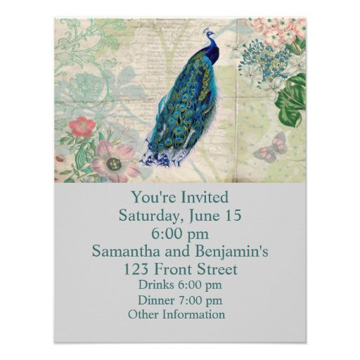 Vintage Peacock, Flowers and Butterfly Custom Announcement