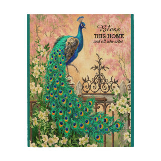 Vintage Peacock Wooden Canvas Wood Print