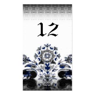 Vintage Peacocks & Floral Blue Goth Wedding Business Card