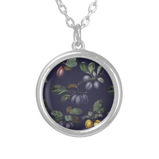 Vintage Pears and Plums Silver Plated Necklace