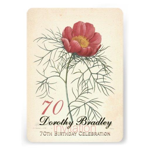 Vintage Peony 70th Birthday Celebration Invitation