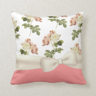 Vintage Peony Floral Decorator Pillow Throw Cushion