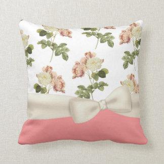 Vintage Peony Floral Decorator Pillow Throw Cushion