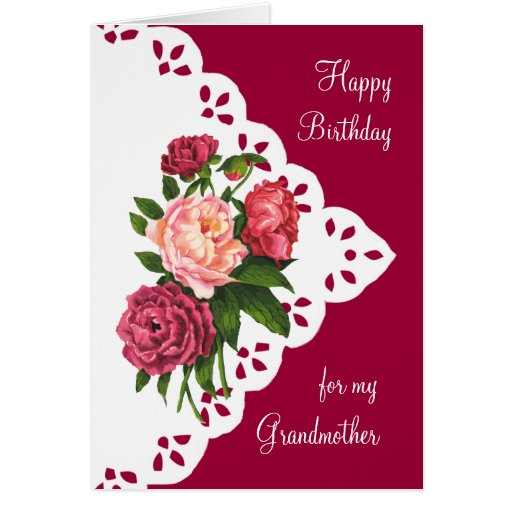 Vintage Peony Flower for Grandmother Birthday Cards