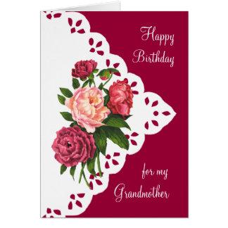 Vintage Peony Flower for Grandmother Birthday Greeting Card