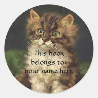 Vintage Pet Animals, Tabby Cat Kitten Bookplate Classic Round Sticker