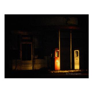 Vintage petrol pumps at night, Riddle, Oregon, Postcard