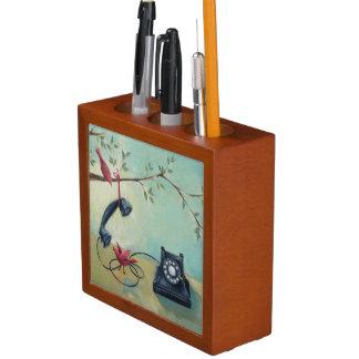 Vintage Phone & Birds Wooden Pencil Holder