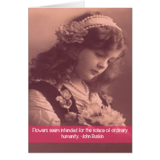 vintage photo of girl looking down at flowers note card