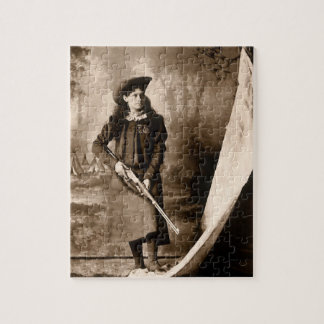 Vintage Photo of Miss Annie Oakley Holding a Rifle Jigsaw Puzzle