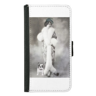 Vintage Photo Women and Dog,gray. Samsung Galaxy S5 Wallet Case