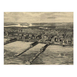 Vintage Pictorial Map of Atlantic City (1909) Postcard