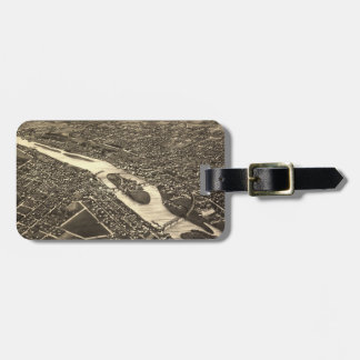 Vintage Pictorial Map of Aurora Illinois (1882) Luggage Tag