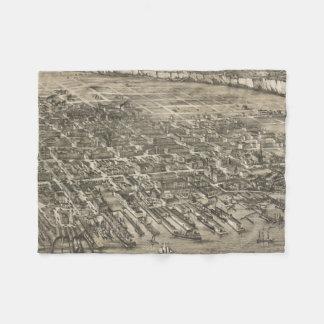 Vintage Pictorial Map of Hoboken NJ (1881) Fleece Blanket