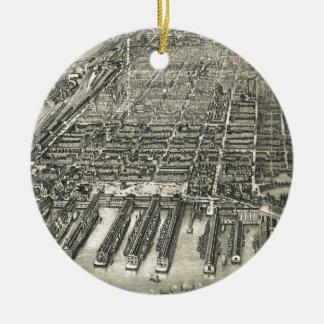 Vintage Pictorial Map of Hoboken NJ (1904) Christmas Ornament