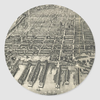 Vintage Pictorial Map of Hoboken NJ (1904) Classic Round Sticker